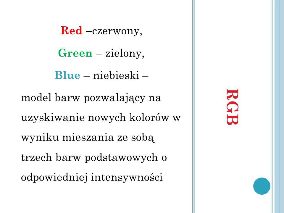 RGB Red –czerwony, Green – zielony, Blue – niebieski –