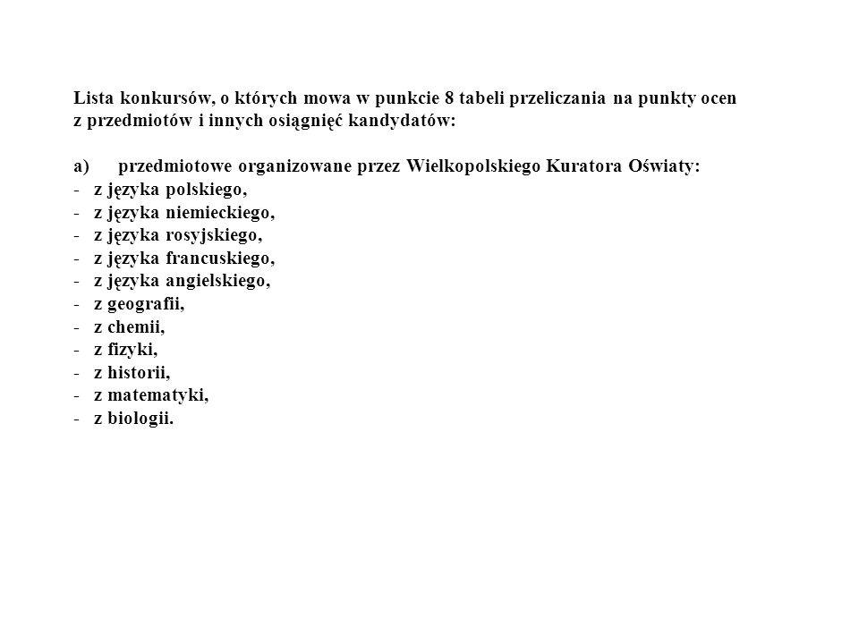 Lista konkursów, o których mowa w punkcie 8 tabeli przeliczania na punkty ocen z przedmiotów i innych osiągnięć kandydatów: a) przedmiotowe organizowane przez Wielkopolskiego Kuratora Oświaty: - z języka polskiego, - z języka niemieckiego, - z języka rosyjskiego, - z języka francuskiego, - z języka angielskiego, - z geografii, - z chemii, - z fizyki, - z historii, - z matematyki, - z biologii.