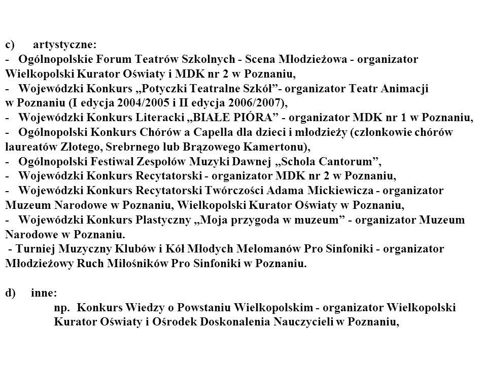 """c) artystyczne: - Ogólnopolskie Forum Teatrów Szkolnych - Scena Młodzieżowa - organizator Wielkopolski Kurator Oświaty i MDK nr 2 w Poznaniu, - Wojewódzki Konkurs """"Potyczki Teatralne Szkół - organizator Teatr Animacji w Poznaniu (I edycja 2004/2005 i II edycja 2006/2007), - Wojewódzki Konkurs Literacki """"BIAŁE PIÓRA - organizator MDK nr 1 w Poznaniu, - Ogólnopolski Konkurs Chórów a Capella dla dzieci i młodzieży (członkowie chórów laureatów Złotego, Srebrnego lub Brązowego Kamertonu), - Ogólnopolski Festiwal Zespołów Muzyki Dawnej """"Schola Cantorum , - Wojewódzki Konkurs Recytatorski - organizator MDK nr 2 w Poznaniu, - Wojewódzki Konkurs Recytatorski Twórczości Adama Mickiewicza - organizator Muzeum Narodowe w Poznaniu, Wielkopolski Kurator Oświaty w Poznaniu, - Wojewódzki Konkurs Plastyczny """"Moja przygoda w muzeum - organizator Muzeum Narodowe w Poznaniu."""