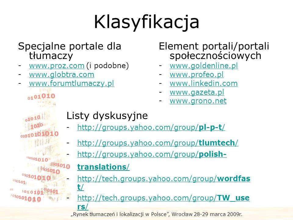 Klasyfikacja Specjalne portale dla tłumaczy