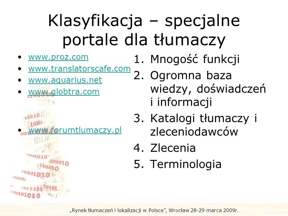 Klasyfikacja – specjalne portale dla tłumaczy