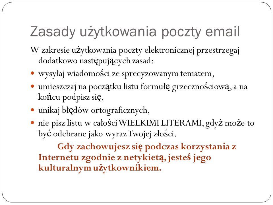 Zasady użytkowania poczty email