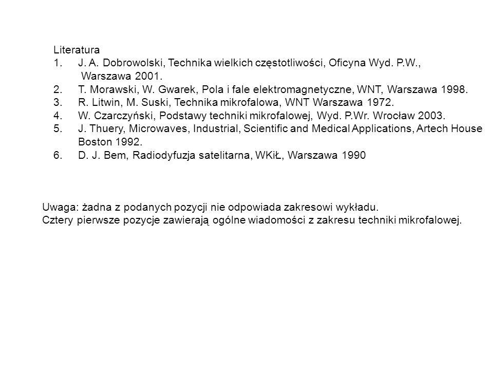 Literatura J. A. Dobrowolski, Technika wielkich częstotliwości, Oficyna Wyd. P.W., Warszawa 2001.