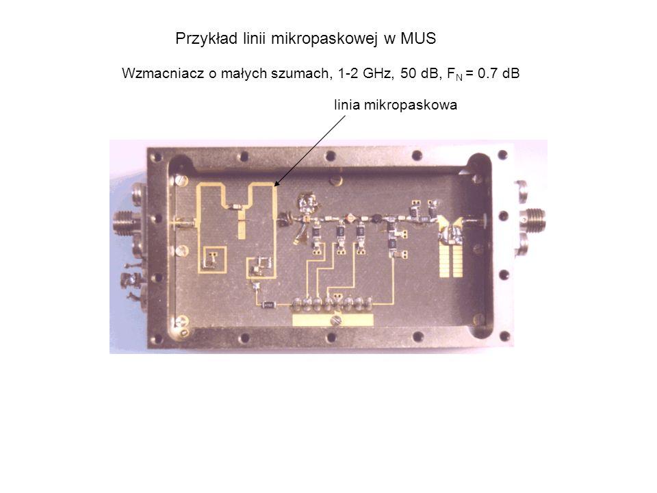 Przykład linii mikropaskowej w MUS