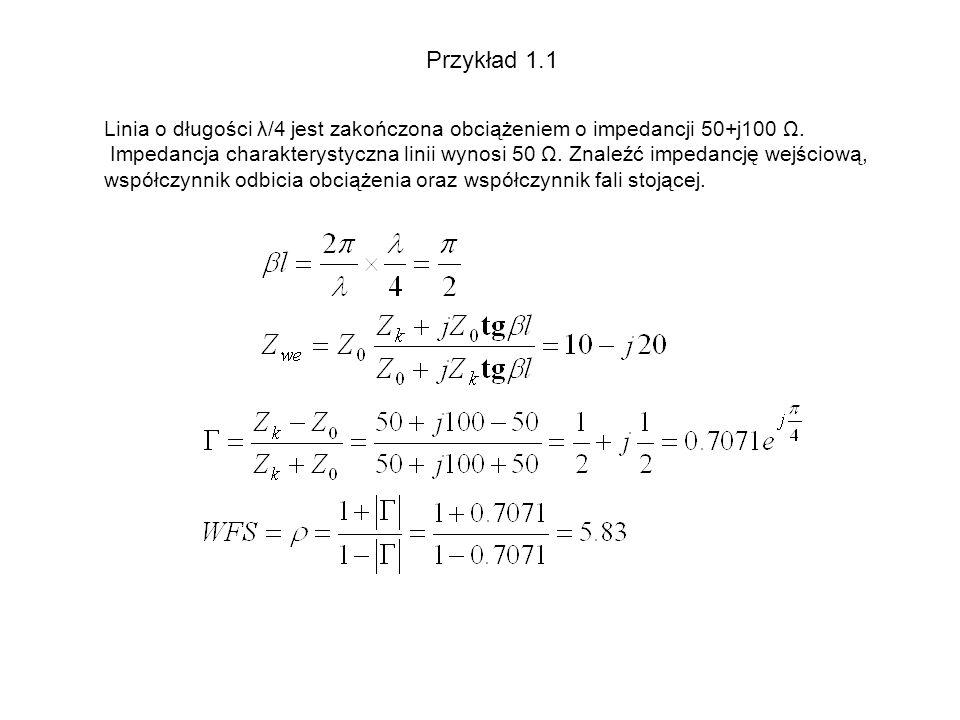 Przykład 1.1 Linia o długości λ/4 jest zakończona obciążeniem o impedancji 50+j100 Ω.