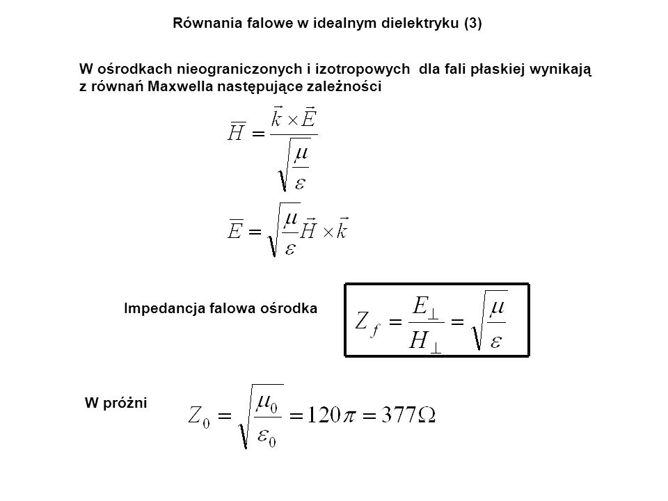 Równania falowe w idealnym dielektryku (3)