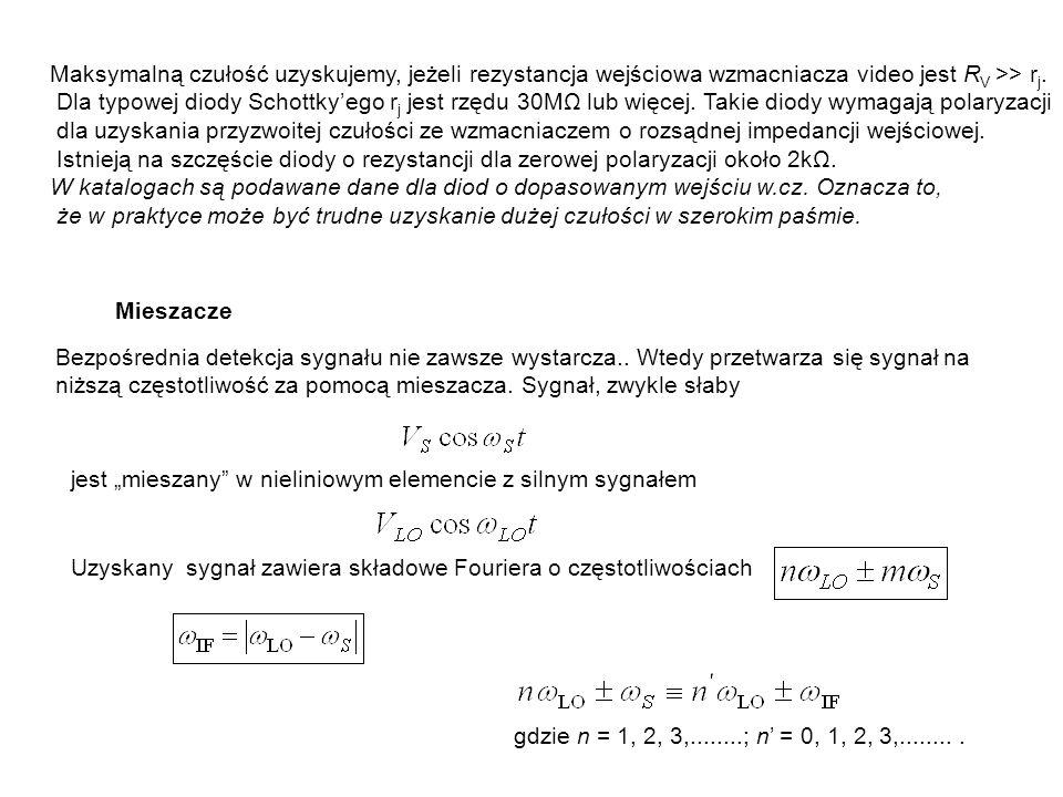 Maksymalną czułość uzyskujemy, jeżeli rezystancja wejściowa wzmacniacza video jest RV >> rj.