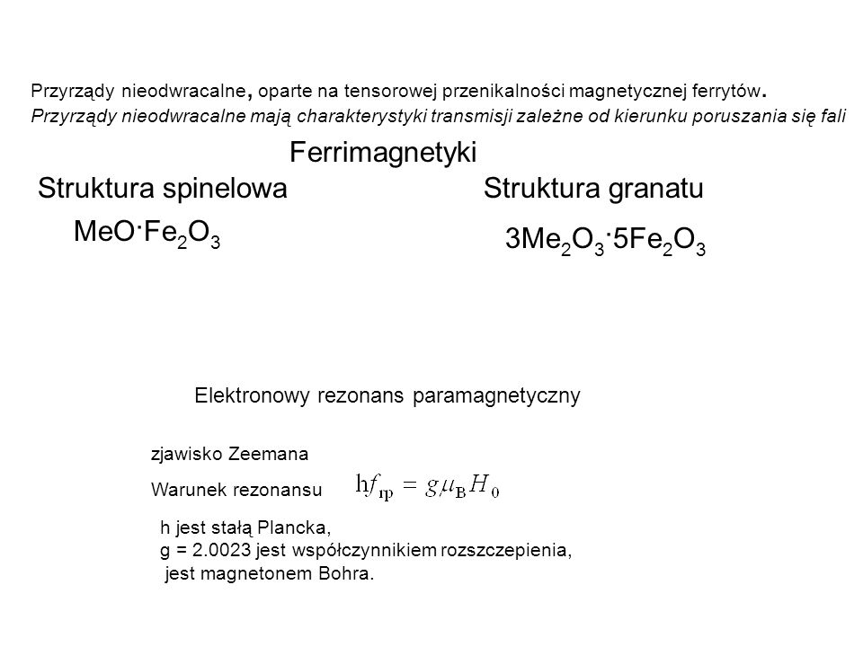 Ferrimagnetyki Struktura spinelowa Struktura granatu MeO·Fe2O3