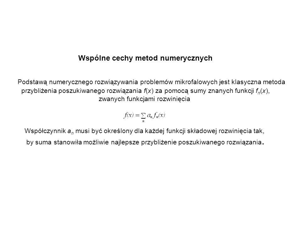 Wspólne cechy metod numerycznych. Podstawą numerycznego rozwiązywania problemów mikrofalowych jest klasyczna metoda.
