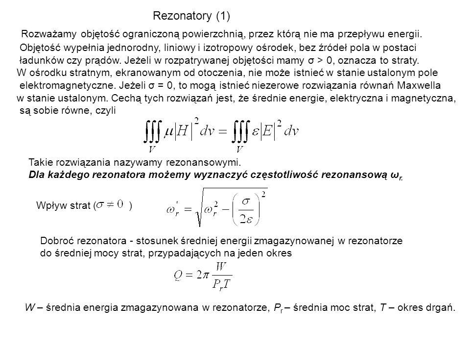 Rezonatory (1) Rozważamy objętość ograniczoną powierzchnią, przez którą nie ma przepływu energii.