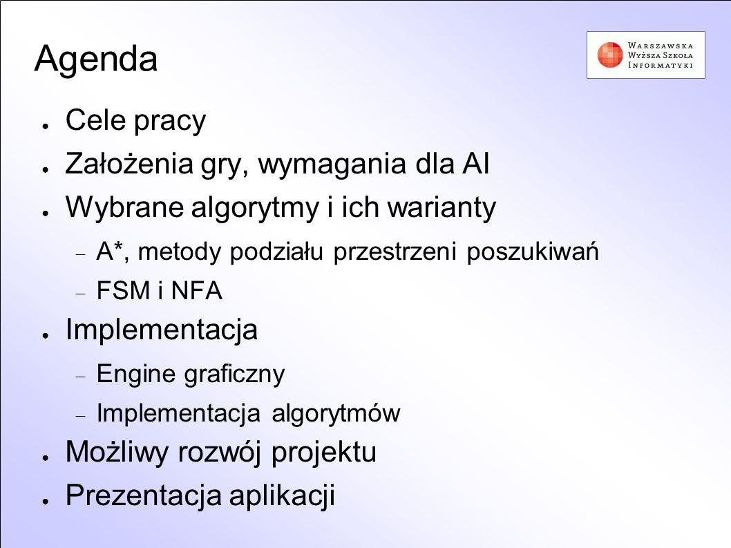 Agenda Cele pracy Założenia gry, wymagania dla AI