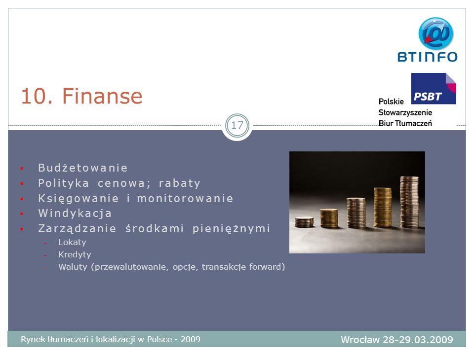 10. Finanse Budżetowanie Polityka cenowa; rabaty