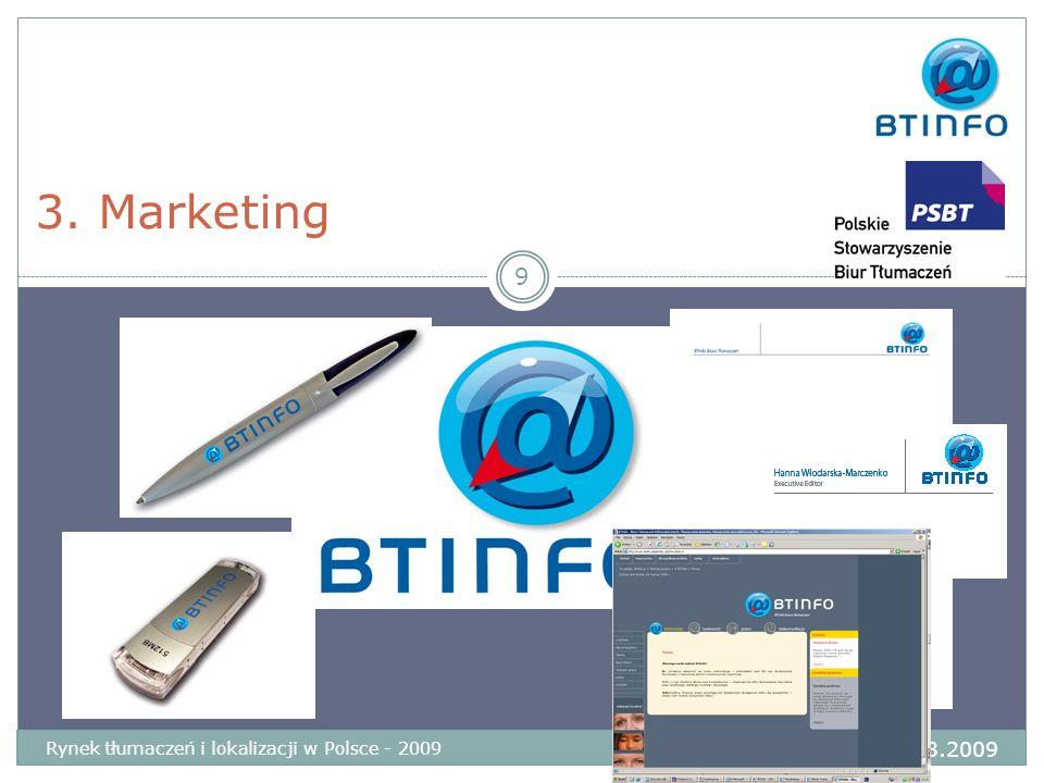 3. Marketing 9 Rynek tłumaczeń i lokalizacji w Polsce - 2009 Wrocław 28-29.03.2009
