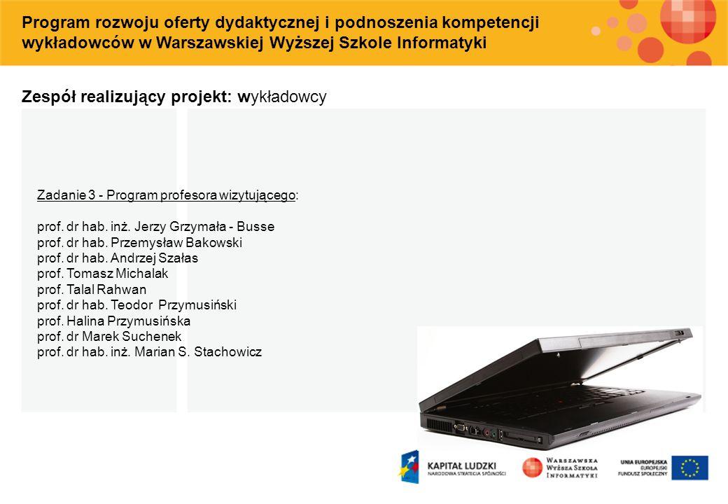 Zespół realizujący projekt: wykładowcy