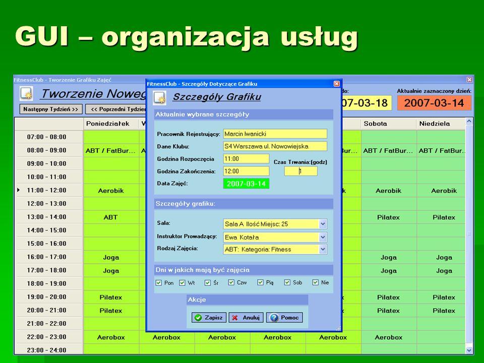 GUI – organizacja usług