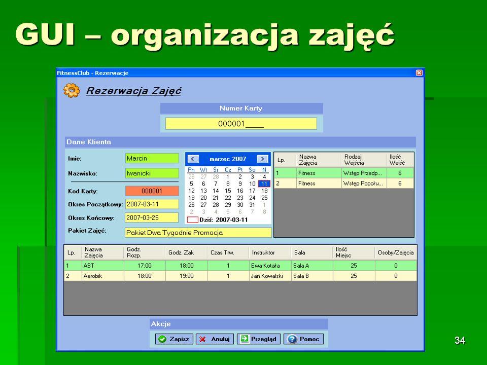 GUI – organizacja zajęć