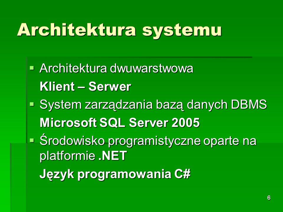 Architektura systemu Architektura dwuwarstwowa Klient – Serwer