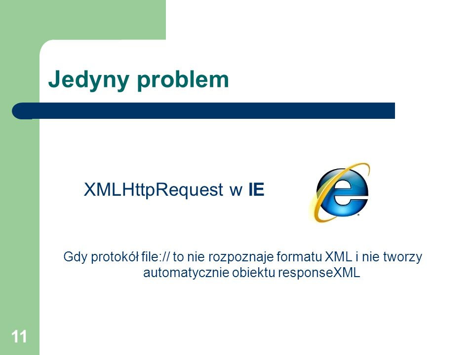 Jedyny problem XMLHttpRequest w IE