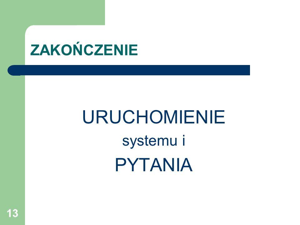 ZAKOŃCZENIE URUCHOMIENIE systemu i PYTANIA