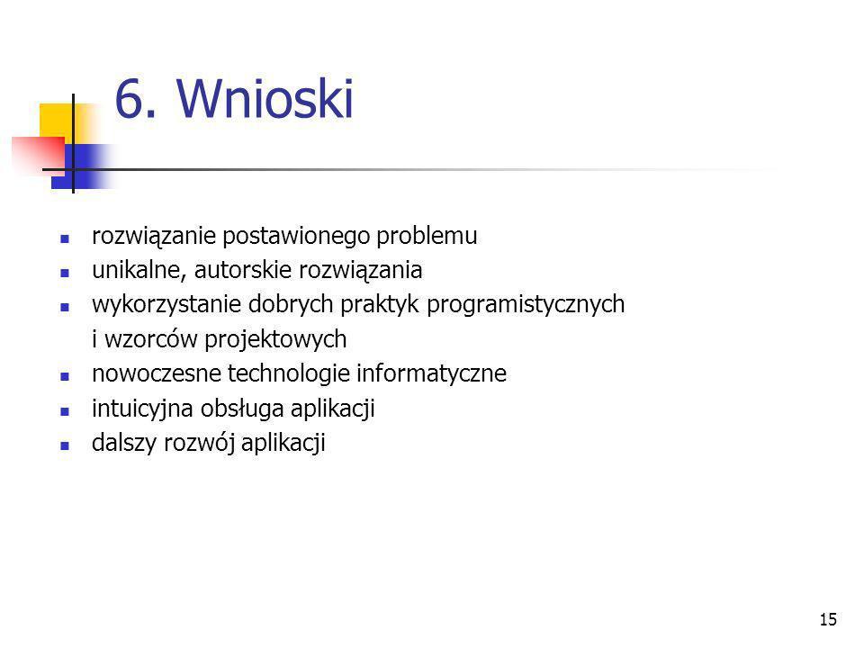 6. Wnioski rozwiązanie postawionego problemu