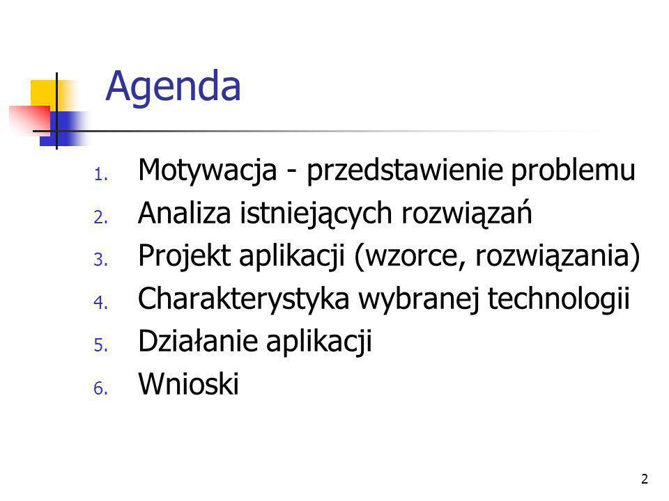 Agenda Motywacja - przedstawienie problemu