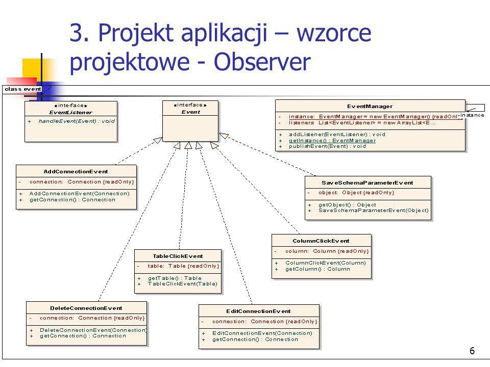 3. Projekt aplikacji – wzorce projektowe - Observer
