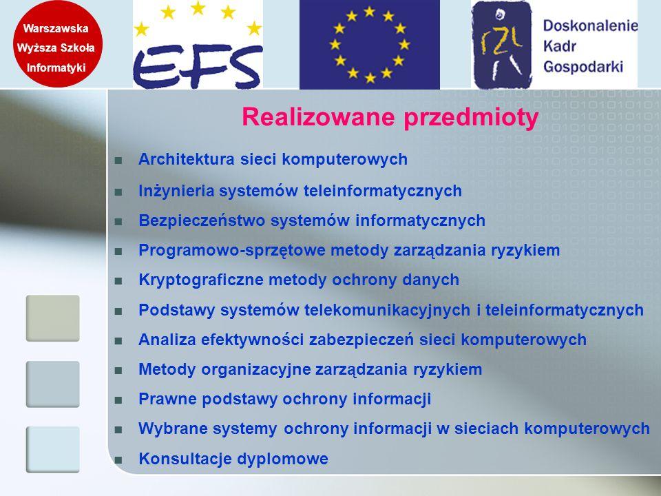 Warszawska Wyższa Szkoła Informatyki Realizowane przedmioty