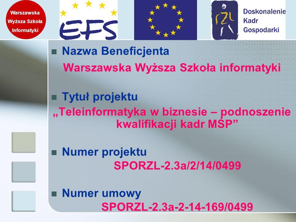 Warszawska Wyższa Szkoła informatyki Tytuł projektu