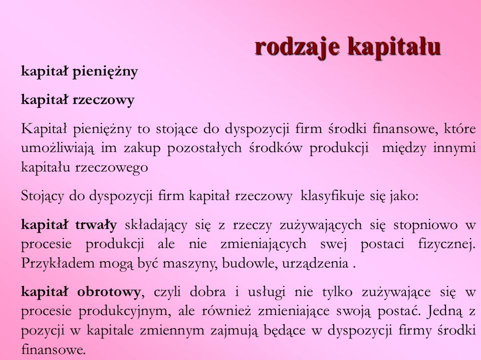 rodzaje kapitału kapitał pieniężny kapitał rzeczowy