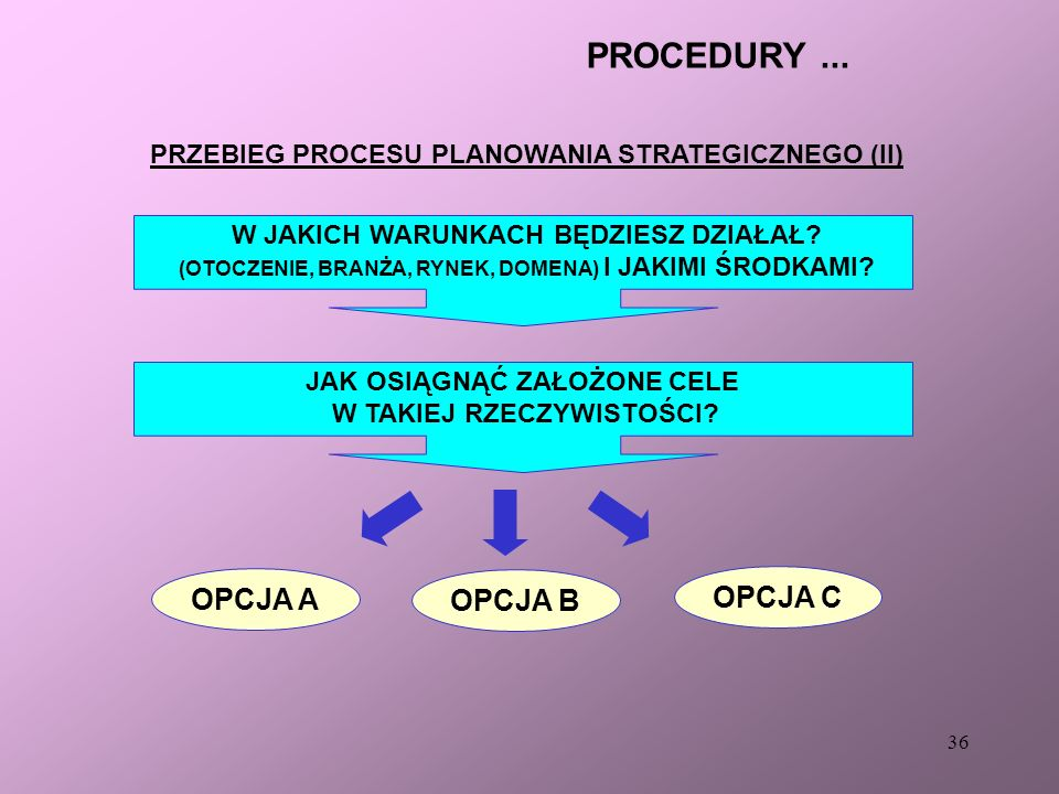 PRZEBIEG PROCESU PLANOWANIA STRATEGICZNEGO (II)