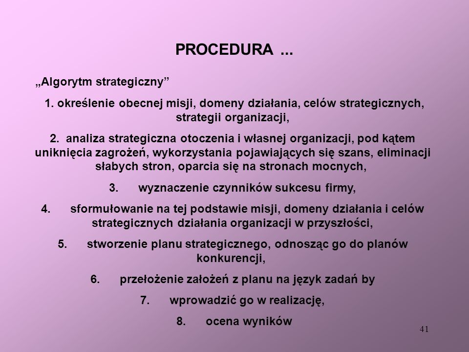 "PROCEDURA ... ""Algorytm strategiczny"