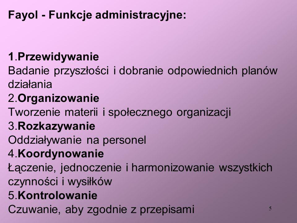 Fayol - Funkcje administracyjne: 1