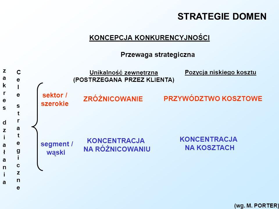 STRATEGIE DOMEN KONCEPCJA KONKURENCYJNOŚCI Przewaga strategiczna