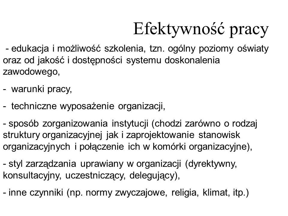 Efektywność pracy - edukacja i możliwość szkolenia, tzn. ogólny poziomy oświaty oraz od jakość i dostępności systemu doskonalenia zawodowego,