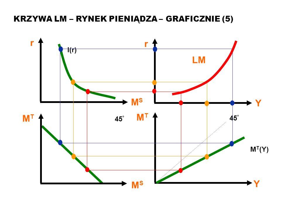 r LM MT Y MS KRZYWA LM – RYNEK PIENIĄDZA – GRAFICZNIE (5) I(r) 45°