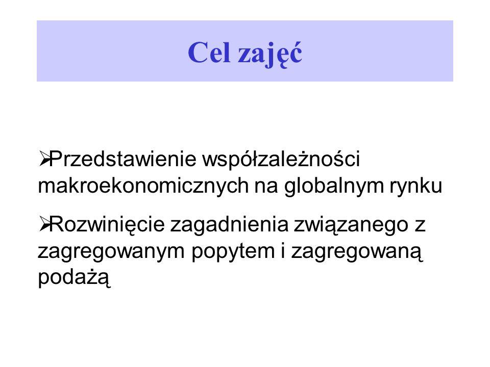 Cel zajęć Przedstawienie współzależności makroekonomicznych na globalnym rynku.