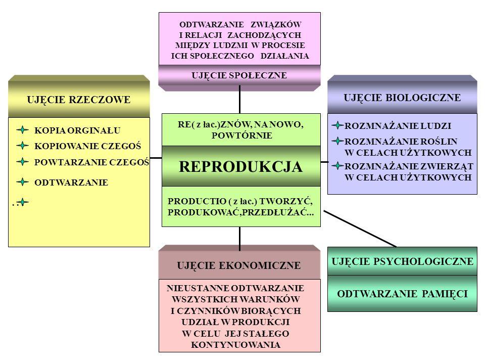 REPRODUKCJA UJĘCIE RZECZOWE UJĘCIE BIOLOGICZNE UJĘCIE PSYCHOLOGICZNE