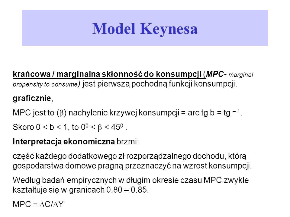 Model Keynesa krańcowa / marginalna skłonność do konsumpcji (MPC- marginal propensity to consume) jest pierwszą pochodną funkcji konsumpcji.