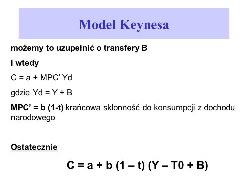 Model Keynesa C = a + b (1 – t) (Y – T0 + B)