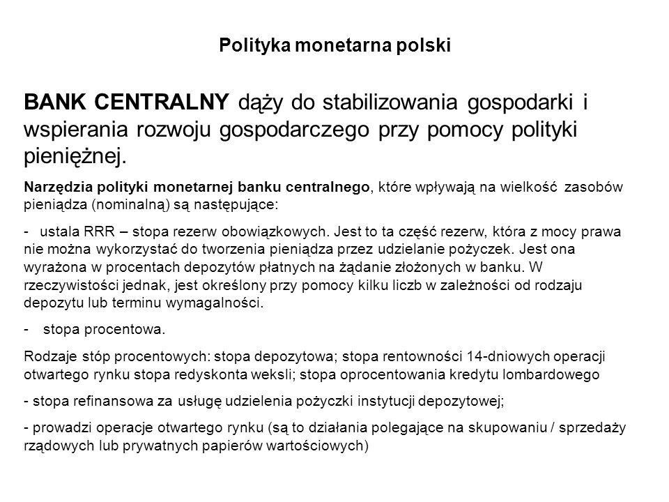Polityka monetarna polski