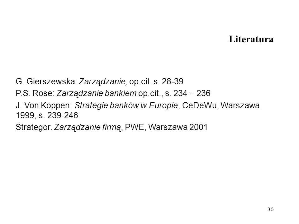 Literatura G. Gierszewska: Zarządzanie, op.cit. s. 28-39