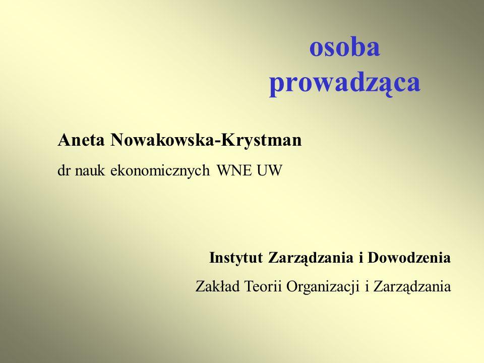 osoba prowadząca Aneta Nowakowska-Krystman