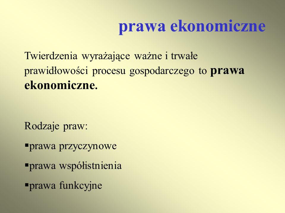 prawa ekonomiczne Twierdzenia wyrażające ważne i trwałe prawidłowości procesu gospodarczego to prawa ekonomiczne.