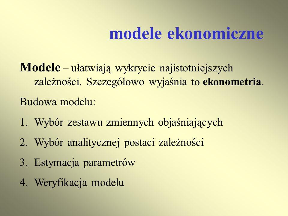 modele ekonomiczne Modele – ułatwiają wykrycie najistotniejszych zależności. Szczegółowo wyjaśnia to ekonometria.