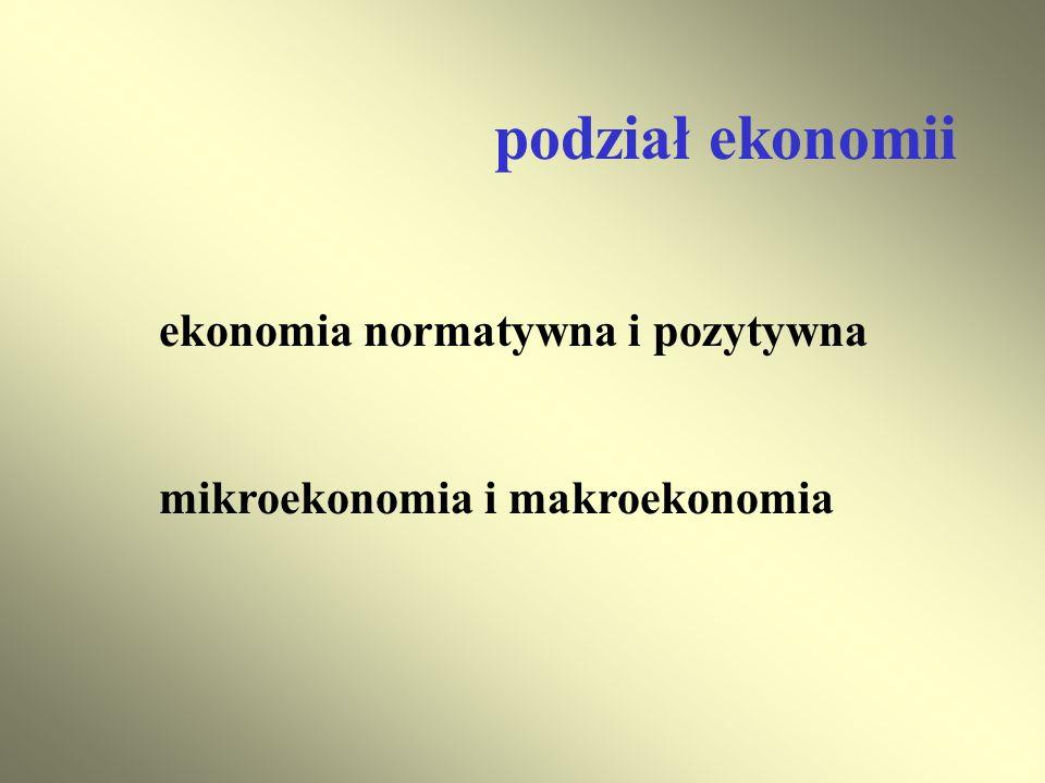 podział ekonomii ekonomia normatywna i pozytywna