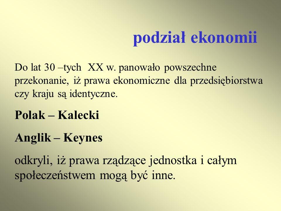 podział ekonomii Polak – Kalecki Anglik – Keynes