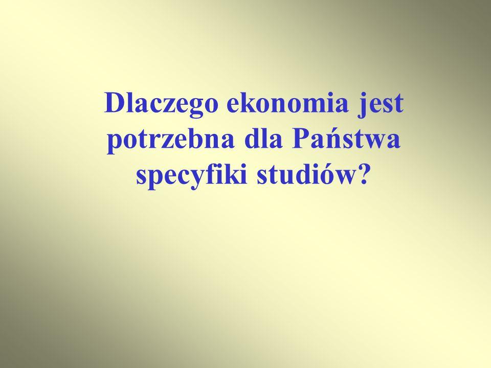 Dlaczego ekonomia jest potrzebna dla Państwa specyfiki studiów