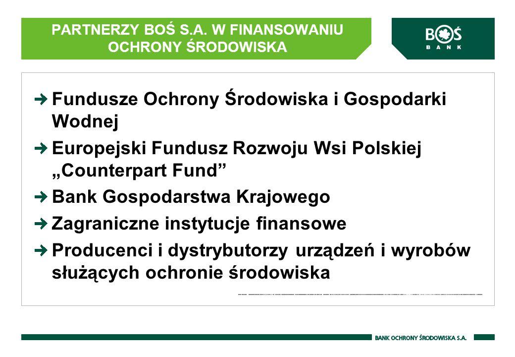 PARTNERZY BOŚ S.A. W FINANSOWANIU OCHRONY ŚRODOWISKA