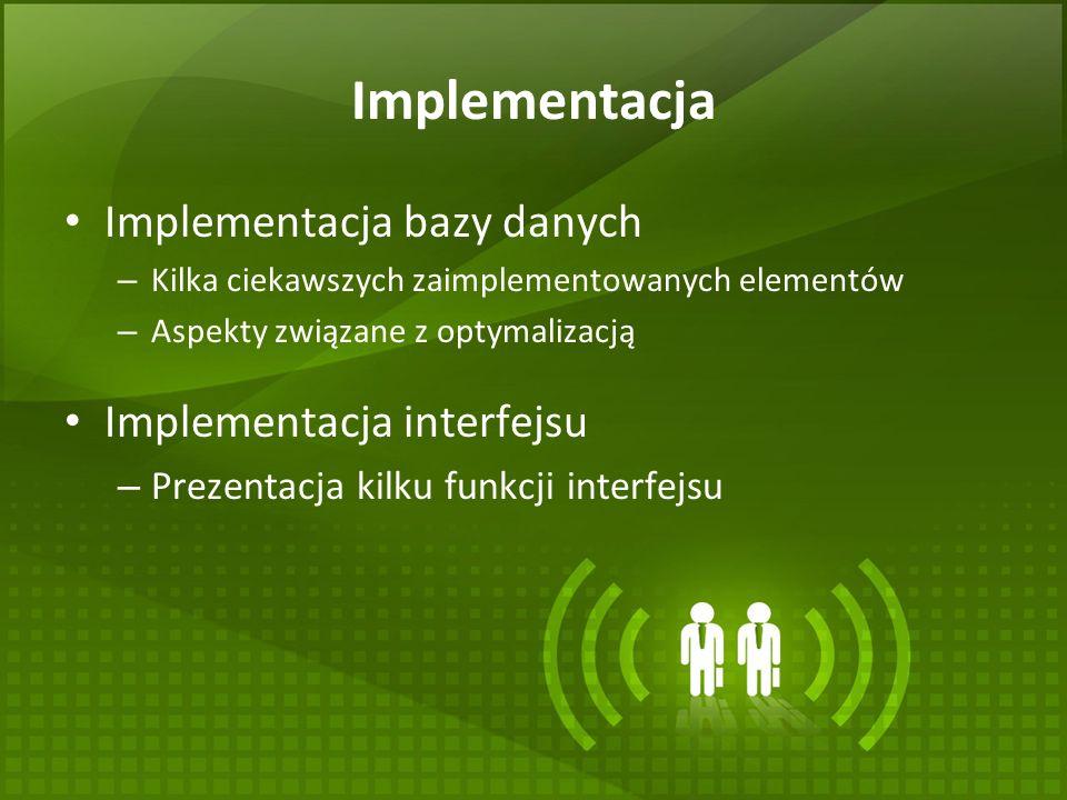 Implementacja Implementacja bazy danych Implementacja interfejsu