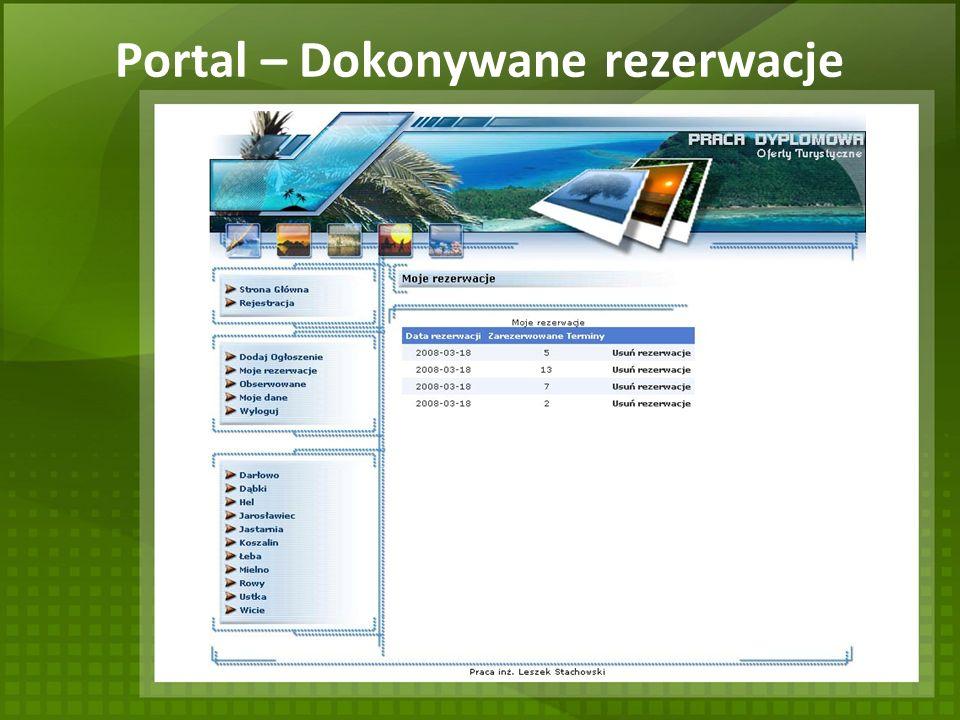 Portal – Dokonywane rezerwacje